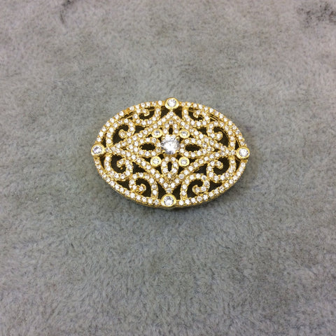 Gold Plated White CZ Cubic Zirconia Inlaid Flat Fancy/Ornate Open Oblong Oval Shaped Copper Slider - Measuring 16mm x 35mm