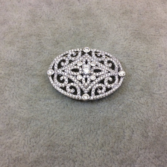Silver Plated White CZ Cubic Zirconia Inlaid Flat Fancy/Ornate Open Oblong Oval Shaped Copper Slider - Measuring 16mm x 35mm