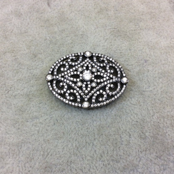 Gunmetal Plated White CZ Cubic Zirconia Inlaid Flat Fancy/Ornate Open Oblong Oval Shaped Copper Slider - Measuring 16mm x 35mm