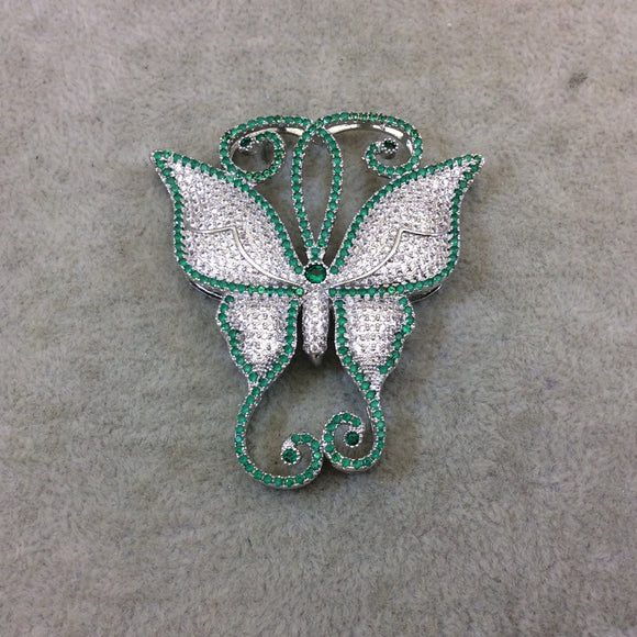 Silver Plated Green/White CZ Cubic Zirconia Inlaid Fancy/Ornate Long Scroll Winged Butterfly Shaped Copper Slider - Measuring 50mm x 57mm