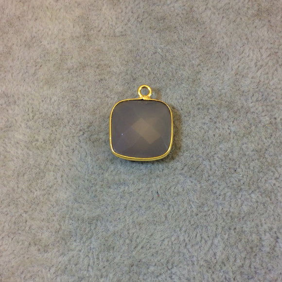 Gold Plated Faceted Natural Semi-Opaque Gray Chalcedony Square Shaped Bezel Pendant - Measuring 15mm x 15mm - Sold Individually