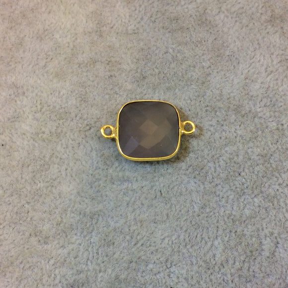 Gold Plated Faceted Natural Semi-Opaque Gray Chalcedony Square Shaped Bezel Connector - Measuring 15mm x 15mm - Sold Individually