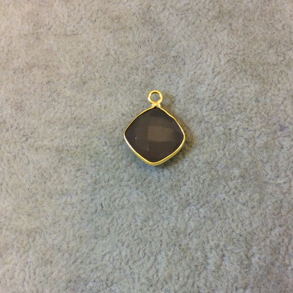 Gold Plated Faceted Natural Semi-Opaque Gray Chalcedony Diamond Shaped Bezel Pendant - Measuring 12mm x 12mm - Sold Individually