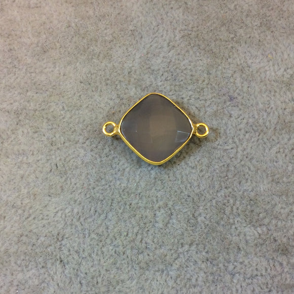 Gold Plated Faceted Natural Semi-Opaque Gray Chalcedony Diamond Shaped Bezel Connector - Measuring 15mm x 15mm - Sold Individually