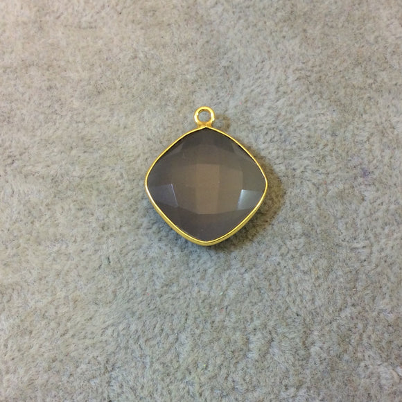 Gold Plated Faceted Natural Semi-Opaque Gray Chalcedony Diamond Shaped Bezel Pendant - Measuring 18mm x 18mm - Sold Individually