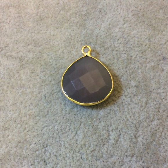 Gold Plated Faceted Natural Semi-Opaque Gray Chalcedony Heart/Teardrop Shaped Bezel Pendant - Measuring 18mm x 18mm - Sold Individually