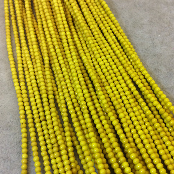2mm Dyed Yellow Howlite Smooth Round/Ball Shaped Beads - Sold by 15.5