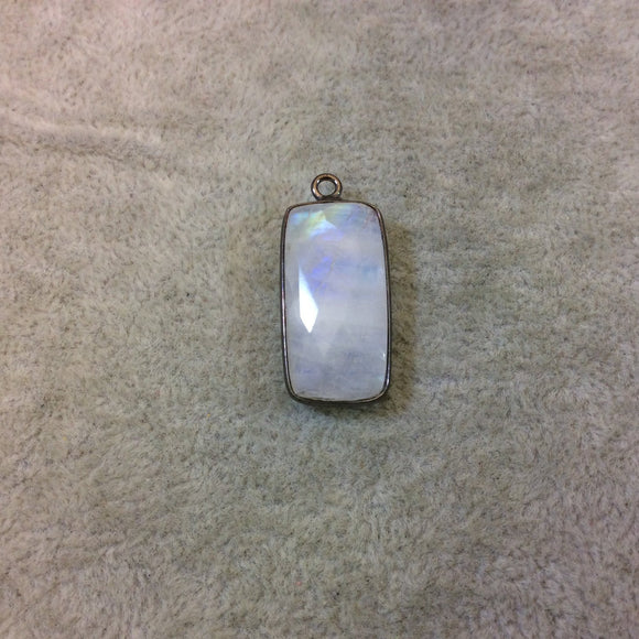 Gunmetal Plated Natural Moonstone Faceted Rectangle/Bar Shaped Copper Bezel Pendant - Measures 12mm x 24mm - Sold Individually, Random