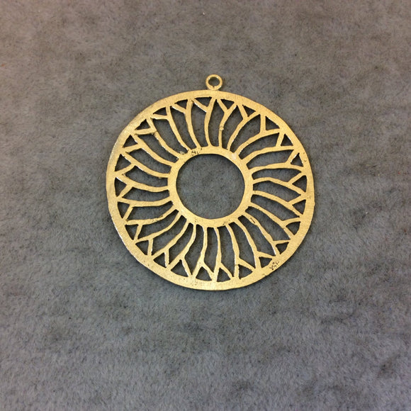 Large Gold Plated Daisy/Sunshine Cutout Circle Shaped Brushed Finish Copper Components -Measuring 48mm x 48mm - Sold in Packs of 10 (337-GD)