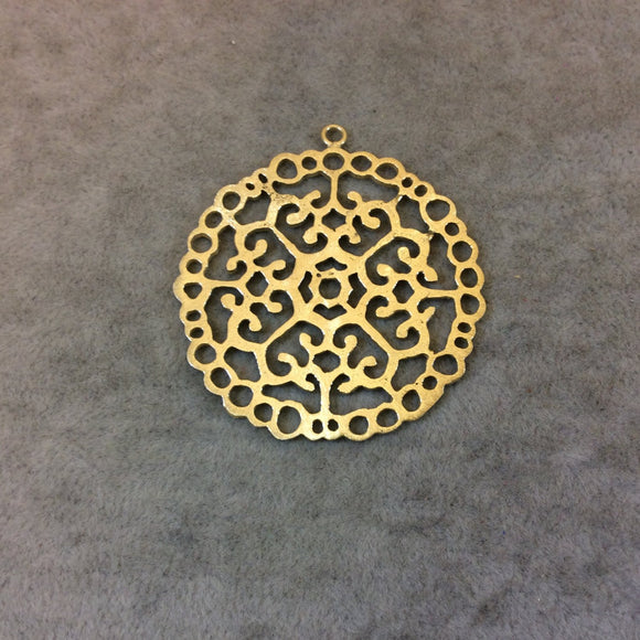 Gold Plated Intricate Scrollwork Cutout Circle Shaped Brushed Finish Copper Components- Measuring 47mm x 47mm - Sold in Packs of 10 (366-GD)