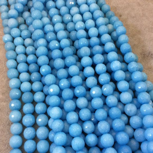 8mm Faceted Dyed Sky Blue Natural Jade Round/Ball Shaped Beads with 1mm Beading Holes - Sold by 15.25