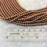 "4mm Smooth Natural Metallic Copper Coated Hematite Round/Ball Shape Beads - Sold by 16"" Strands (Approx. 101 Beads) - Semi-Precious Gemstone"