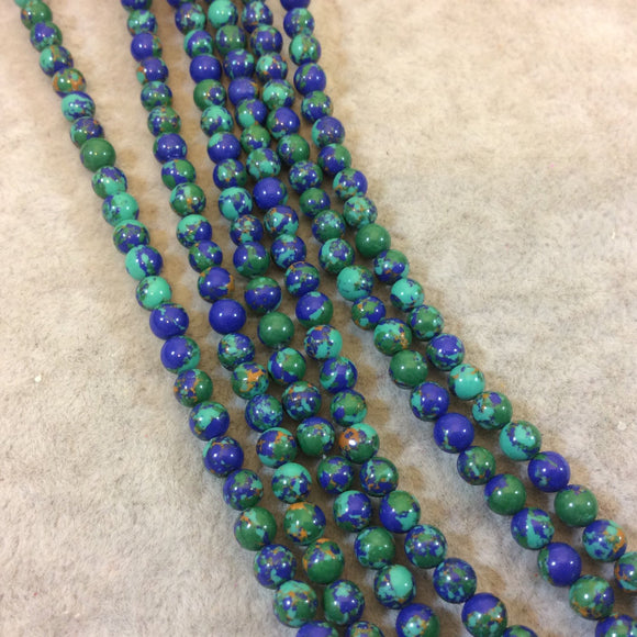 4mm Smooth Synthetic Malachite/Azurite Round/Ball Shaped Beads - 15.25