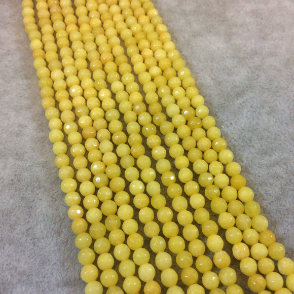 4mm Faceted Dyed Canary Yellow Natural Jade Round/Ball Shaped Beads - Sold by 14.5