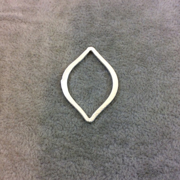 25mm x 35mm Silver Brushed Finish Open Marquise Shaped Plated Copper Components - Sold in Pre-Counted Bulk Packs of 10 Pieces - (078-SV)