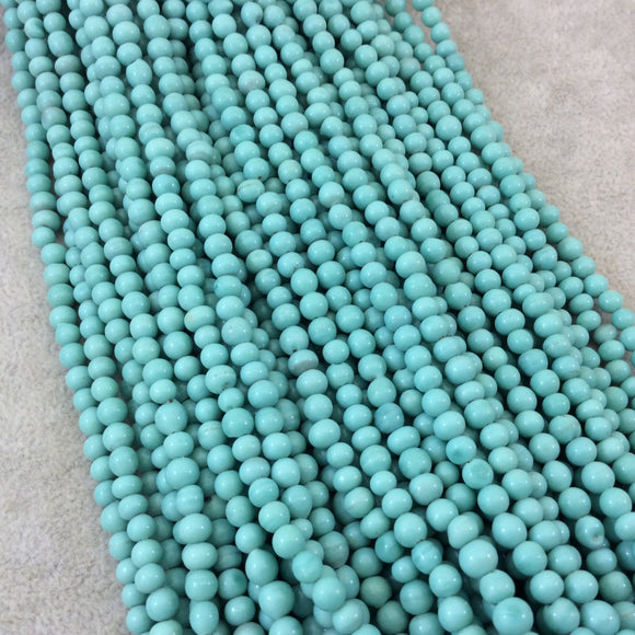 4mm Glossy Seafoam Green Quality Irregular Rondelle Shaped Indian Ceramic Beads - Sold by 16.25