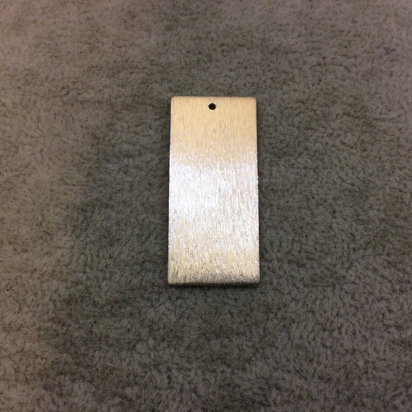 18mm x 35mm Silver Brushed Finish Blank Rectangle Shaped Plated Copper Components - Sold in Pre-Counted Bulk Packs of 10 Pieces - (170-SV)