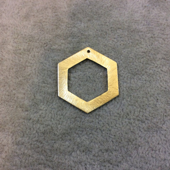 Large Gold Plated Copper Open Cutout Thick Hex/Hexagon Shaped Components - Measuring 26mm x 30mm - Sold in Packs of 10 (183-GD)