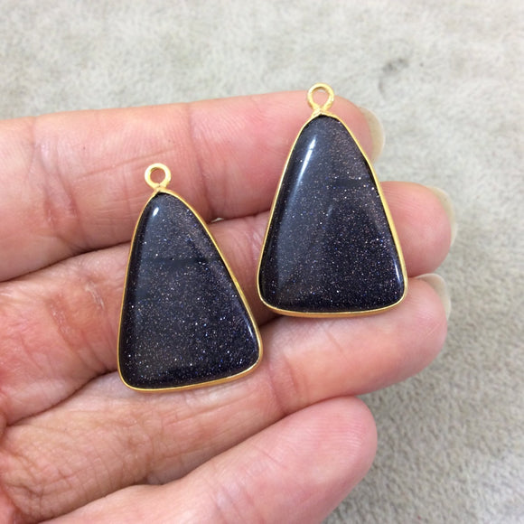 One Pair of OOAK Gold Finish Smooth Blue Goldstone Triangle Shaped Bezel Pendants