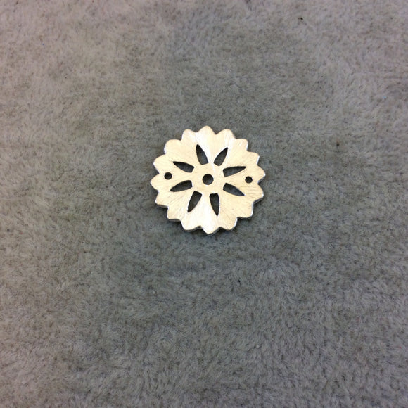 Medium Sized Silver Plated Copper Open Cutout Gear/Flower Shaped Components - Measuring 21mm x 21mm - Sold in Packs of 10 (247-SV)