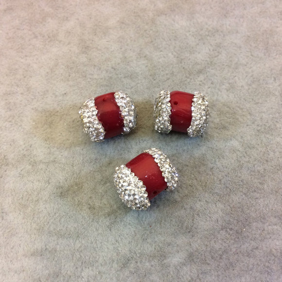 Single Rhinestone Encrusted Cylinder/Barrel Shaped Dyed Red Coral Bead - Measuring 15mm Long, Approx - Sold Individually, Selected Randomly