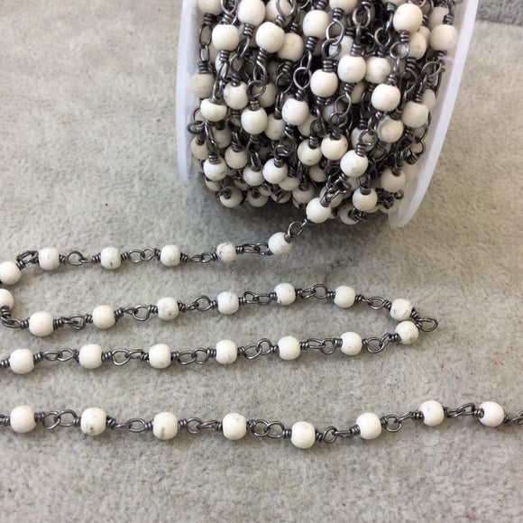 Gunmetal Plated Copper Wrapped Rosary Chain with 4mm Smooth Natural White Howlite Round Shaped Beads - Sold by 1' Cut Sections or in Bulk!