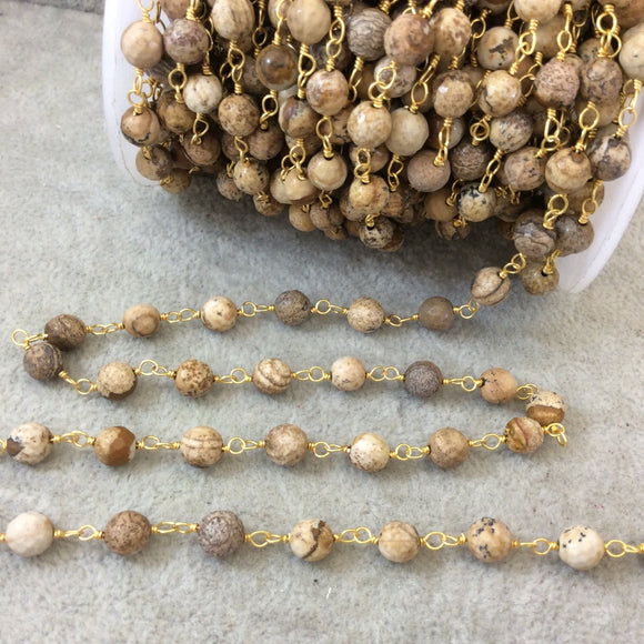 Gold Plated Copper Wrapped Rosary Chain with 6mm Faceted Natural Picture Jasper Round Shaped Beads - Sold by 1' Cut Sections or in Bulk!