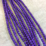 "4mm Faceted Dyed Purple Howlite Round/Ball Shaped Beads - Sold by 15.75"" Strands (Approx. 106 Beads) - Natural Semi-Precious Gemstone"