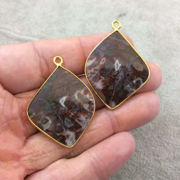 One Pair of OOAK Gold Plated Faceted Crazy Lace Agate Freeform Shaped Bezel Pendants