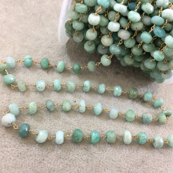Gold Plated Copper Wrapped Rosary Chain with 7-8mm Faceted Natural Amazonite Rondelle Shaped Beads (CH351-GD) - Sold by 1' Cut Sections!