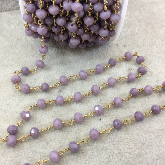 Gold Plated Copper Wrapped Rosary Chain with 6mm Faceted Faded Purple Glass Crystal Rondelle Beads - Sold by 1' Cut Section or in Bulk!