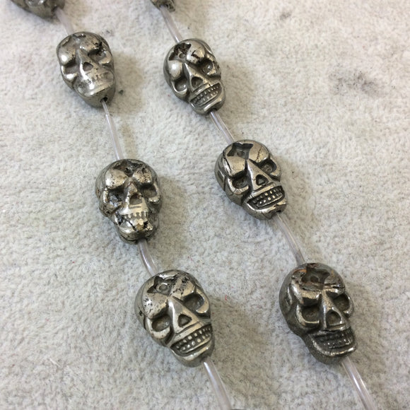 13mm x 18mm Smooth Natural Metallic Pyrite Flattened Skull Shaped Beads with 1mm Holes - 15.25