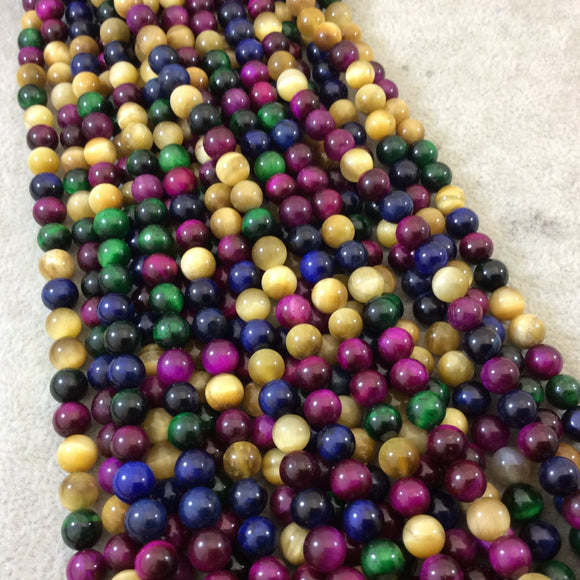 6mm Smooth Multicolor Dyed Natural Tiger Eye Round/Ball Shaped Beads with 1mm Holes - 15.5
