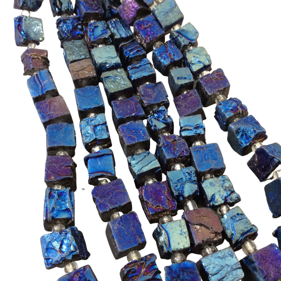 10-12mm Faux Metallic Blue/Aqua Pyrite Rough Cube Shaped Beads with 1mm Holes - 8