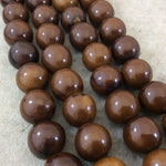 "18mm Dark Brown Colored Smooth Acrylic Faux Bone Round Shape Beads with 3mm Holes - 16.25"" Strand (Approx. 22 Beads) - Sold by the Strand"