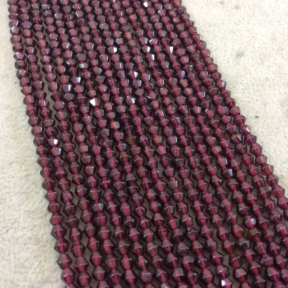 3.5-4mm Faceted Natural Deep Crimson Red Garnet Bicone Shaped Beads - 14