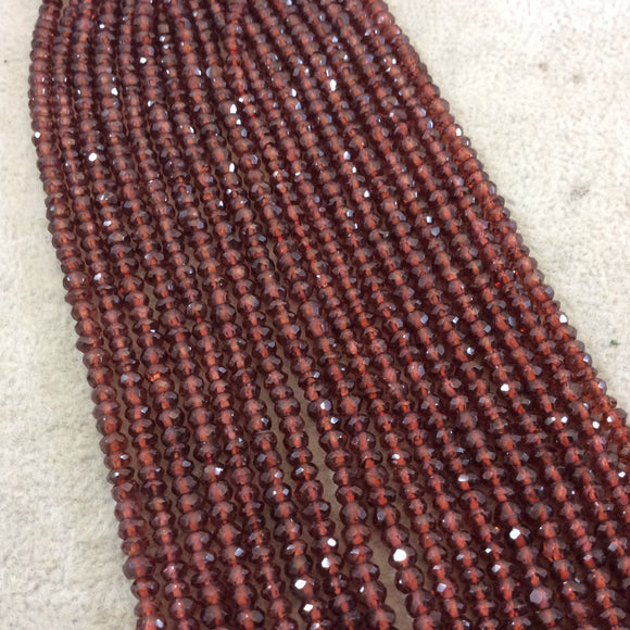 3mm Microfaceted Natural Brown/Red Garnet Rondelle Shaped Beads - 13.5