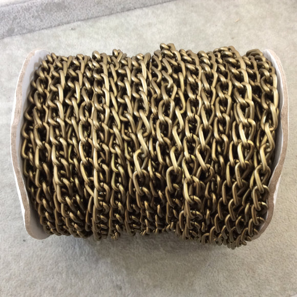 A1504 FULL SPOOL - Bronze Plated Aluminum Flattened Oval Shaped Twisted Link Curb Chain with 6mm x 11mm Links - Three Finishes Available