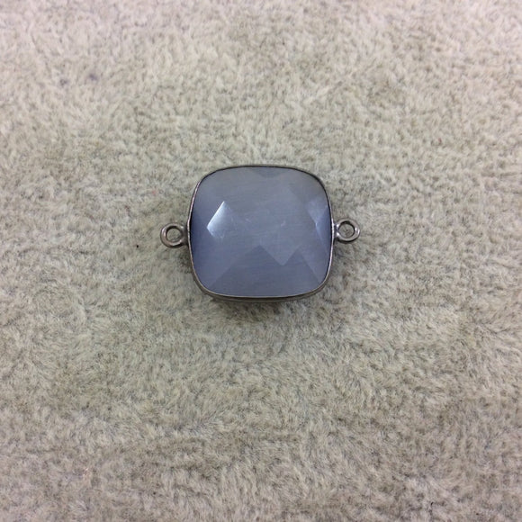 Gunmetal Plated Faceted Synthetic Gray Cat's Eye (Manmade Glass) Square Shaped Bezel Connector - Measuring 18mm x 18mm - Sold Individually