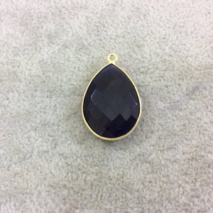 Gold Plated Faceted Synthetic Navy Blue Cat's Eye (Manmade Glass) Teardrop Shaped Bezel Pendant - Measuring 18mm x 24mm - Sold Individual