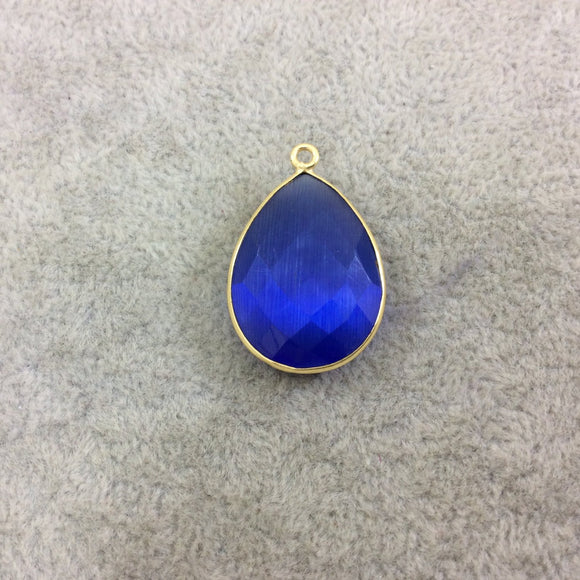 Gold Plated Faceted Synthetic Cobalt Blue Cat's Eye (Manmade Glass) Teardrop Shaped Bezel Pendant - Measuring 18mm x 24mm - Sold Individual