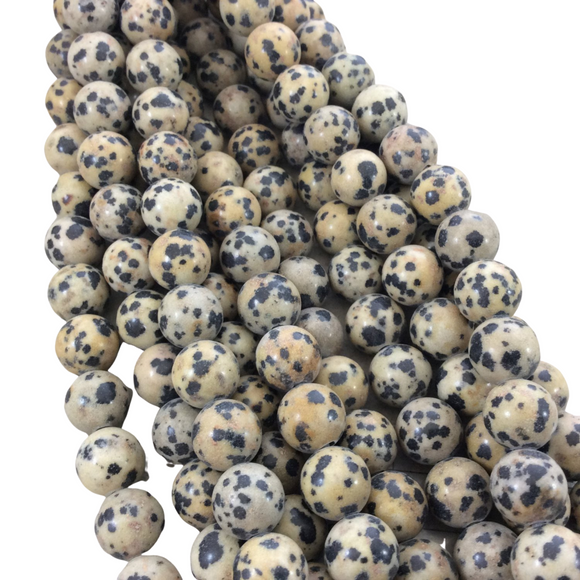 10mm Glossy Finish Natural Dalmatian Jasper Round/Ball Shaped Beads with 2mm Holes - 7.75