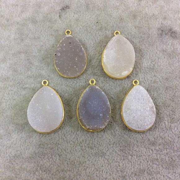 Gold Plated Teardrop Shaped Light Druzy Stone Bezel Pendant Component - Measuring 19mm x 25mm Approx. - Sold Individually/Randomly Chosen