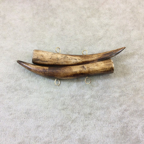 "4"" Mixed Brown Mirrored Double Antler Tusk Shaped Natural Ox Bone Pendant with Four Suspension Rings - Measuring 110mm x 25mm - (TR4BRDMANT)"