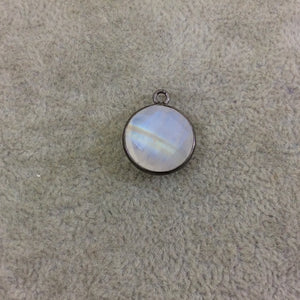 Gunmetal Plated Natural Moonstone Faceted Round/Coin Shaped Copper Bezel Pendant - Measures 14mm x 14mm - Sold Individually, Random
