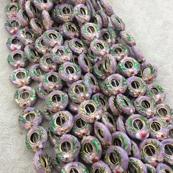 15mm Decorative Floral Light Purple Donut/Ring Shaped Metal/Enamel Cloisonné Beads - Sold by 15