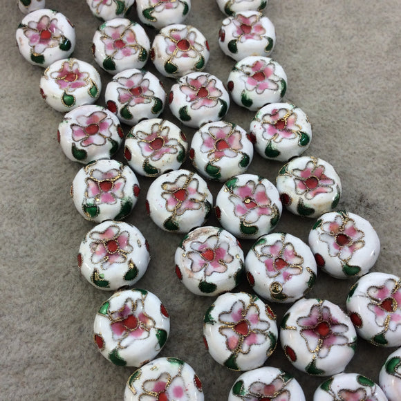 16mm Decorative Floral Multicolor White Puffed Drum Shaped Metal/Enamel Cloisonné Beads - Sold by 15