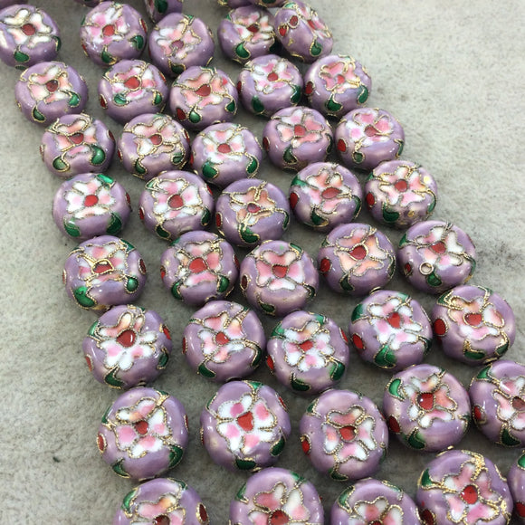 16mm Decorative Floral Light Purple Puffed Drum Shaped Metal/Enamel Cloisonné Beads - Sold by 15