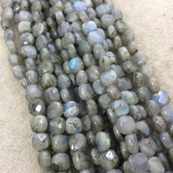 8mm Faceted Natural Iridescent Labradorite Rounded Square Shape Beads with 1mm Holes - 15