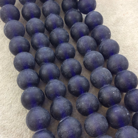 14mm Matte Navy Blue Irregular Rondelle Shaped Indian Beach/Sea Glass Beads - Sold by 16